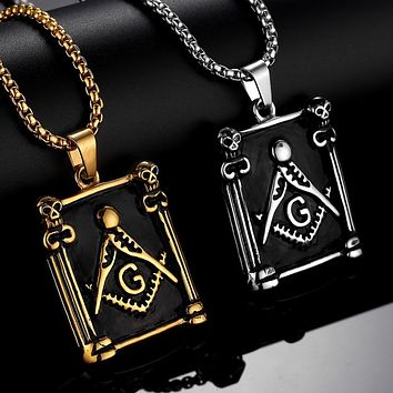 Pillars Square Compass G Masonic Necklace