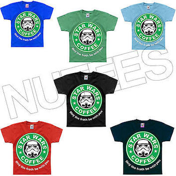 StarWars Coffee May The Froth Be With You Funny Kids T-Shirt 1-2 to 14-15 Years