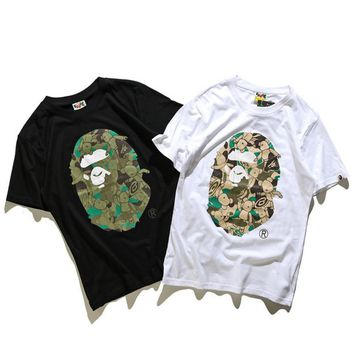 Unisex BAPE Monogram Print Cotton T-Shirt Tee Top