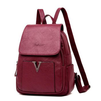 School Backpack trendy V Letter Fashion Women Backpack Youth Vintage Leather Backpack For Teenage Girls New Female School Bag Bagpack Mochila Sac A Dos AT_54_4