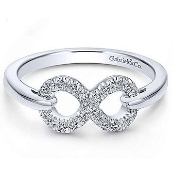 Gabriel Sterling Silver White Sapphire Infinity Ring