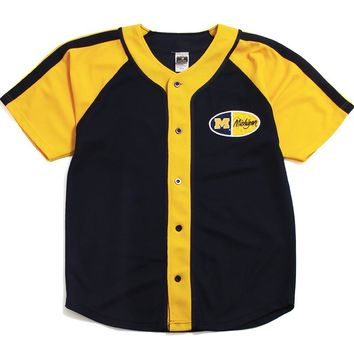 University of Michigan Oval Chest Logo Signal Sports Baseball Jersey Navy / Yellow (Large)