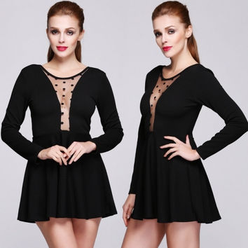 New Style Fashion Lady Women's Party Backless Mesh Splicing Long Sleeve Sexy Elegant Dress