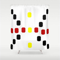 "Abstract Butterfly Shower Curtain 71"" X 74"",Yellow,White,Black,Red,Print,Bathroom,Home Decor,Squares,Pattern,Pop Art"