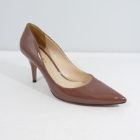 Prada Taupe Beige Patent Leather Heels Shoes Pumps Size EU 37.5