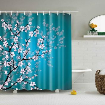 Bathroom Shower Curtains Hanging Decor Fabric Bathroom Decor Shower Curtain Pink Blossoms Decor Leaves and Plants Spring Flowers