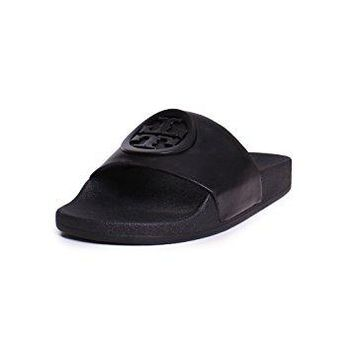 Tory Burch Lina Leather Rubber Label Slider Sandals In Black