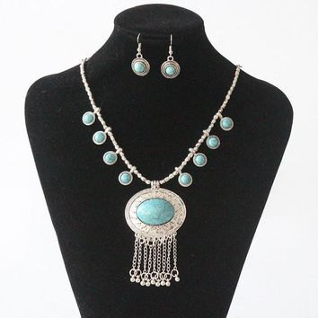 Turquoise Blue Eyes Long Necklace with Matching Earrings Set on Silver Chain | Khadijah