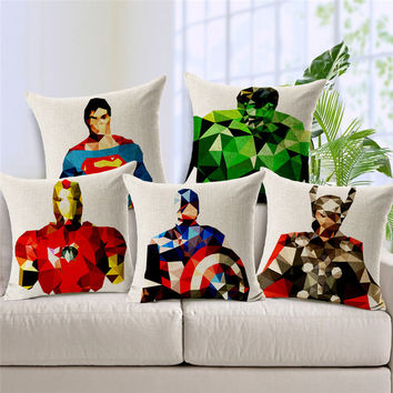 18'' 45cm Square Home Decorative Cartoon Marvel Heroes Cushion Pillow Case Mosaics The Avengers Pillowcase Batman Covers