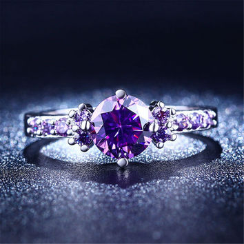 Fashion Purple Silver Jewelry Amethyst cz diamond rings for women midi engagement wedding female rings cute jewelry bijoux L200