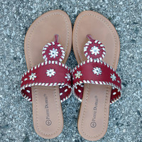 Preppy Sandal – Red Combo