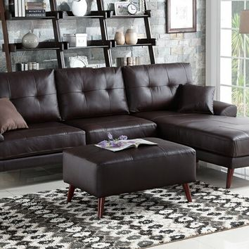 2 pc Felicia II collection brown top grain leather match sectional sofa with chaise lounge