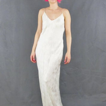 Vintage cream silk slip dress boho from honey moon muse for Low back bras wedding dress