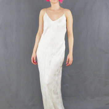 Vintage Cream Silk Slip Dress Boho Wedding Dress Honeymoon Lingerie Low Back Minimalist Bias Cut Silk Wedding Gown Strappy Maxi Dress (M/L)