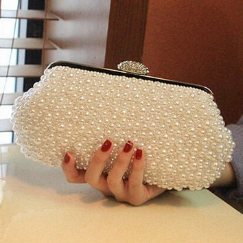 Women messenger beaded women vintage evening bags imitation pearl shell women bag shoulder bags,diamonds clutch bag for wedding