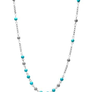 Men's Silver Chain with Turquoise Beads