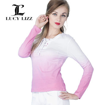 Lucy Lizz Women Long Sleeve Cotton Shirt Womens Casual Clothing Fashion Tops 2016 Ombre Round Neck Color Block T-shirt CG029