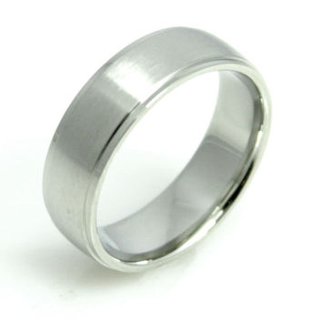 Unisex Stainless Steel Wedding Band -Size