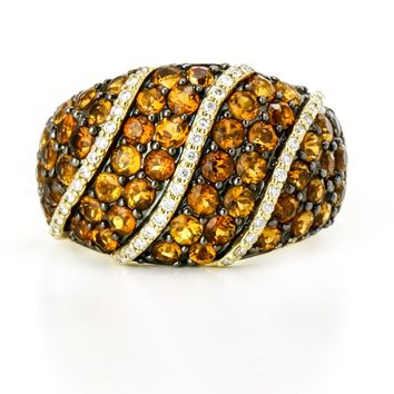 Clyde Duneier Pave Citrine and Diamond Dome Ring in 18k Yellow Gold Size 7