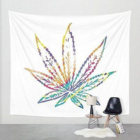 Pot Leaf Tapestry Marijuana Wall Hanging Peace Love