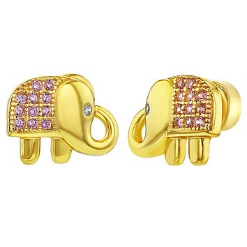 925 Sterling Silver Pink CZ Good Luck Elephant Push Back Safety Earrings Girls