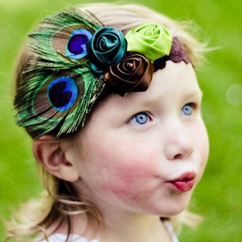 Vintage Peacock Feather and Flower Design Headband For Baby