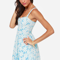 Flower Trip Ivory and Blue Floral Print Dress