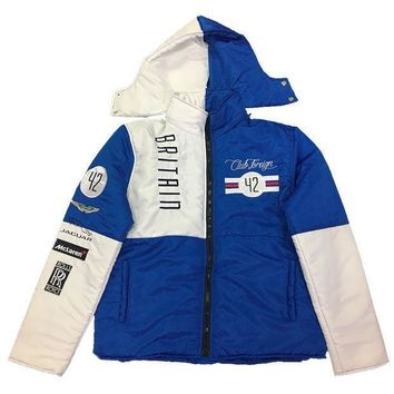 Club Foreign Britain Bubble Jacket Detachable Hood In Blue/white - Beauty Ticks