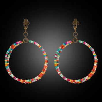 New colorful hanging ear clip earrings for women Fashion resin beads dangle earrings jewelry Double two round circle earring
