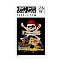 Jolly Roger, Pirate Ship & Pirate's Chest Postage