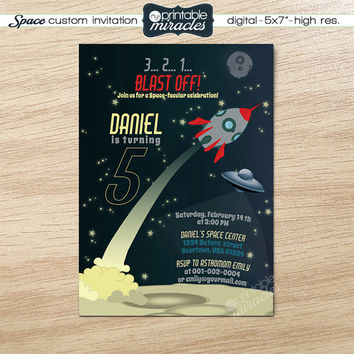 Rocket birthday invitation, Sky invite card for kids party, Printable space invitations