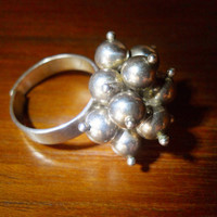 Vintage Sterling Ring Beads Modernist and Adjustable