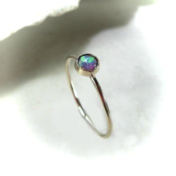 Stacking Ring Gold MMS38 Fire Opal