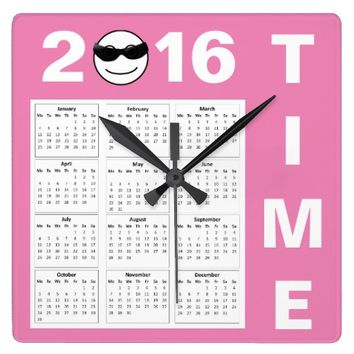 Happy New Year 2016 Cute Pink Smiley Calendar Square Wall Clock