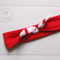 Blood RED Top Knot Headband with Red and White Bow Headband Knot Toddler Headband Head Wrap Baby Bow Headband Newborn Knot Headband