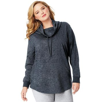 JMS French Terry Cowl Neck Tunic Style: OJ326-Navy Heather 2X
