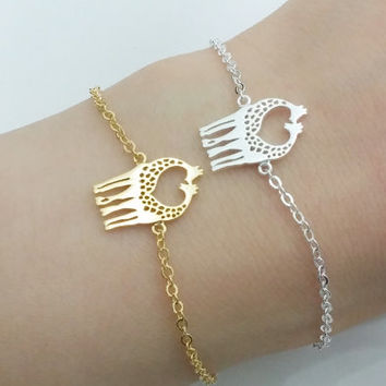 Gold and Silver Giraffe Bracelet, Love Bracelet, Cute Bracelet, Couple Bracelet, Womens Bracelet, Symbol Bracelet, Symbol of Love Bracelet