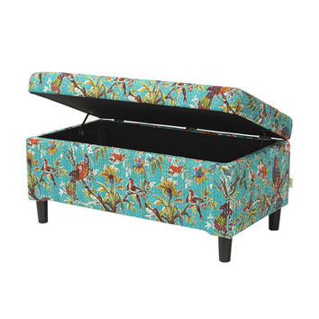 Jennifer Taylor Birds of Paradise Wooden Storage Bench