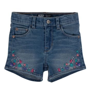 Levi's Chandra Floral Embellished Denim Shorts - Girls