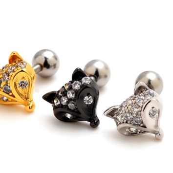 Cute fox zircon Cartilage Studs medical steel antiallergic tragus Earring-0427-Gifts box