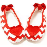 Heart Embellished Red Chevron Crib Shoes