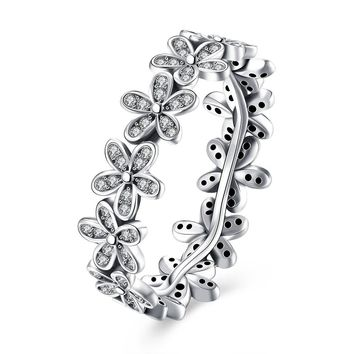 """Sterling Silver """"Pave Daisy's"""" Ring"""