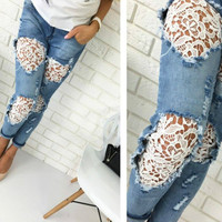 2016 New Casual Women Jeans Mid-waist Slim Denim Pants Sexy Holes Skinny Lace Crochet Patchwork Pencil Jeans Long Trousers M0583