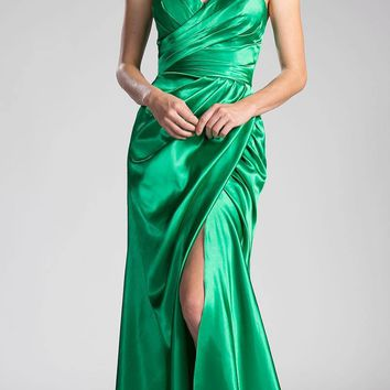 Strapless Long Formal Dress Lace Up Back Emerald Green