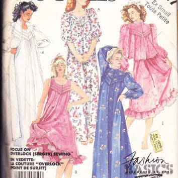 1980's Misses' Nightgown Nightie Robe Jacket McCall's 2827 Vintage Sewing Pattern Bust 30.5-31.5""