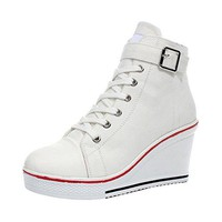 Women's Canvas High-Heeled Platform Wedge Fashion Sneaker Pump Shoes #5 White Label 43 - US 10