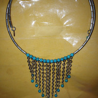 "VINTAGE Turquoise Choker Bib Necklace Carolyn Pollack Sterling Silver 925 RELIOS 17"" Navajo Southwestern Stamped"