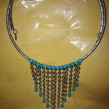 """VINTAGE Turquoise Choker Bib Necklace Carolyn Pollack Sterling Silver 925 RELIOS 17"""" Navajo Southwestern Stamped"""