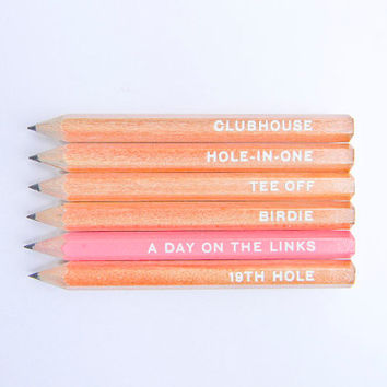A Day On the Links, Golf Pencils- Natural & Pink, Set of 6
