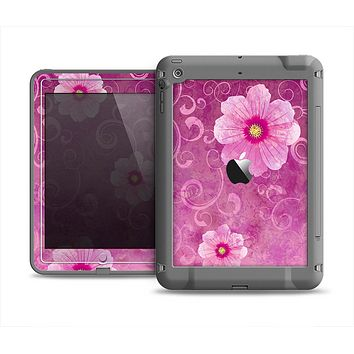 The Pink Vintage Flowers with Swirls Apple iPad Air LifeProof Fre Case Skin Set